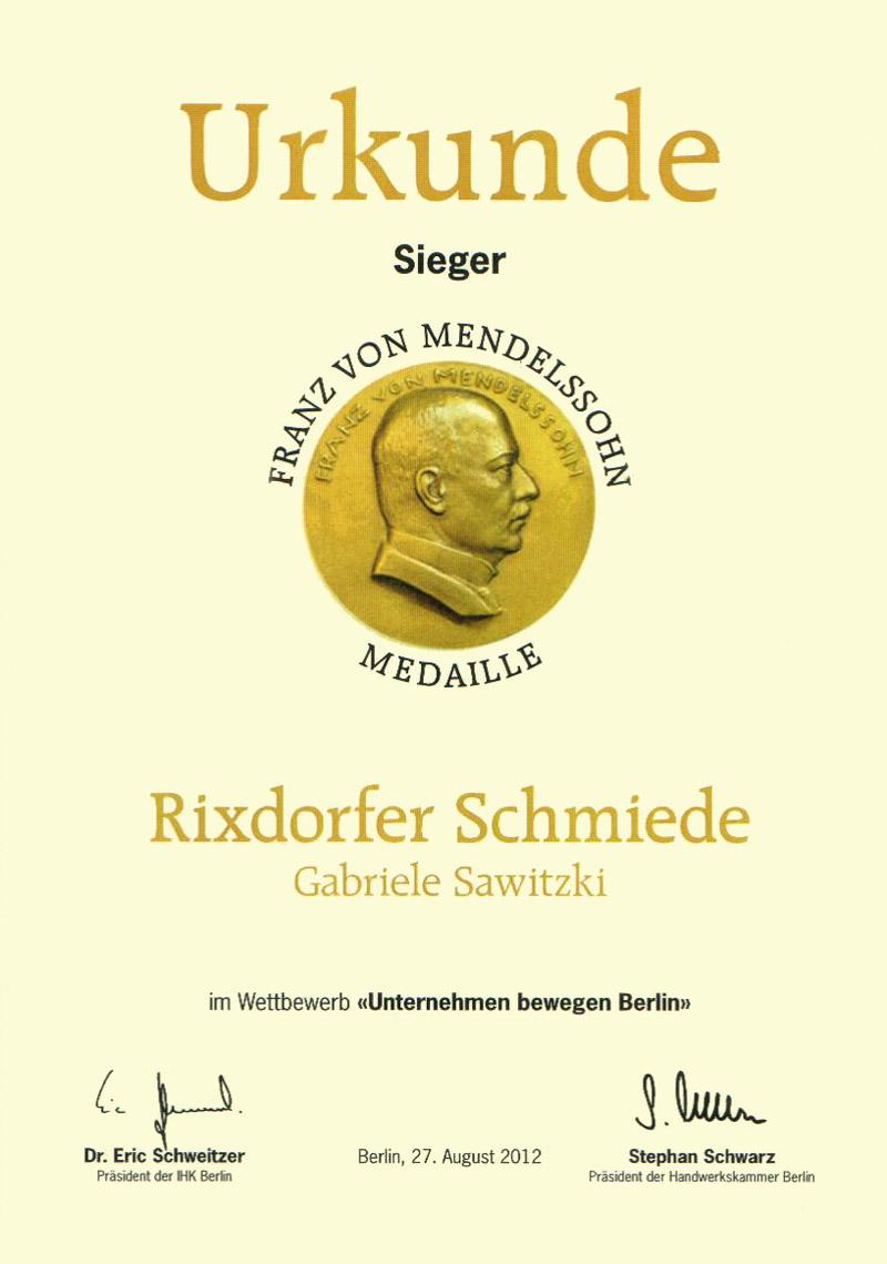 Urkunde Franz von Mendelssohn Medaille