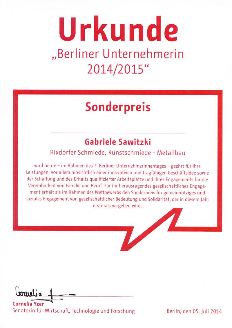 Urkunde Berliner Unternehmerin 2014/2015