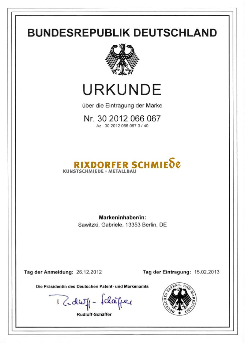 DPMA-Urkunde über die Eintragung der Marke Rixdorfer Schmiede